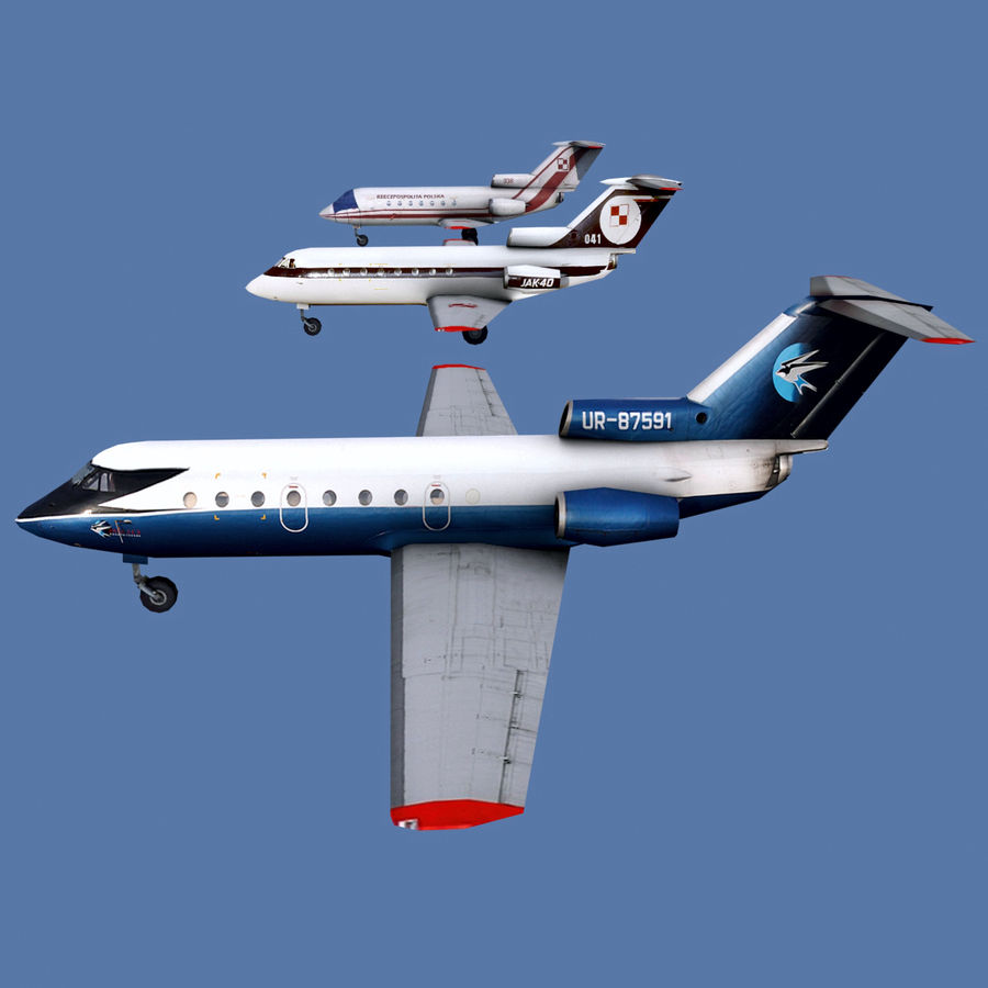 Yakovlev Yak-40 - 3 Liveries royalty-free 3d model - Preview no. 1