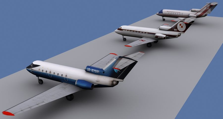 Yakovlev Yak-40 - 3 Liveries royalty-free 3d model - Preview no. 3