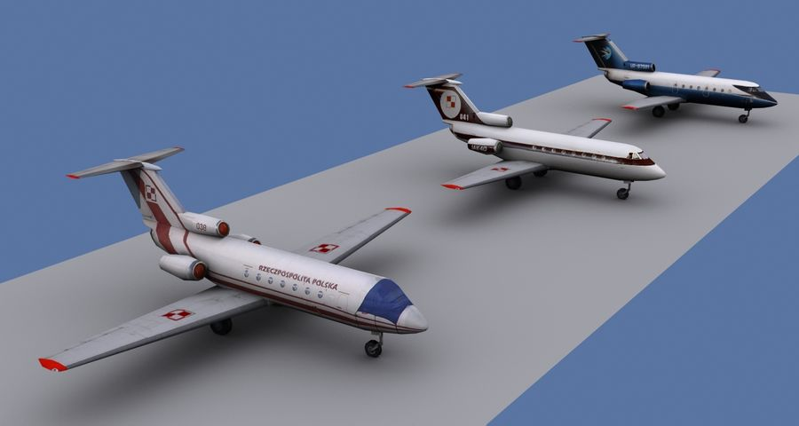 Yakovlev Yak-40 - 3 Liveries royalty-free 3d model - Preview no. 2