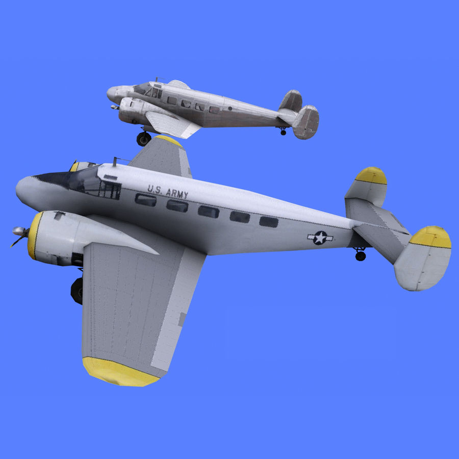 Beechcraft Model 18 - 2 Liveries royalty-free 3d model - Preview no. 1