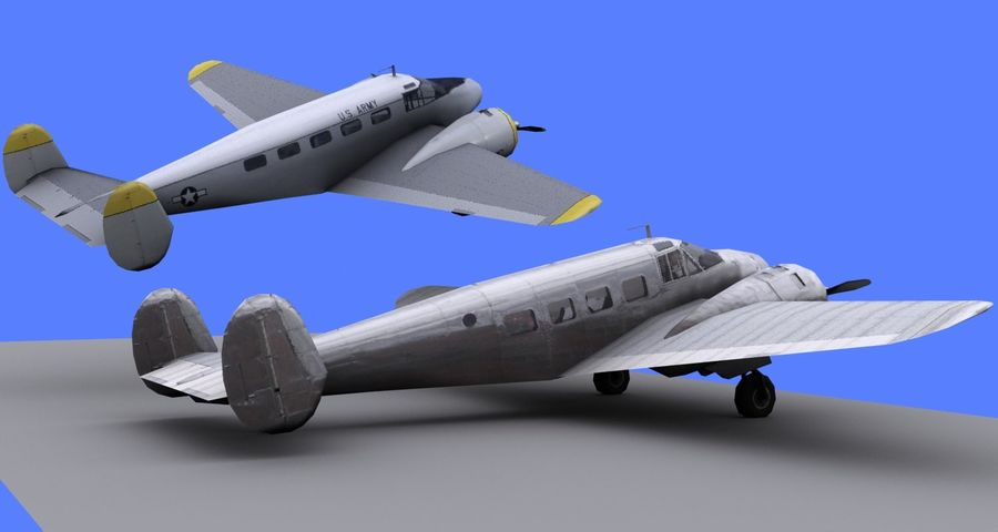Beechcraft Model 18 - 2 wątróbki royalty-free 3d model - Preview no. 4