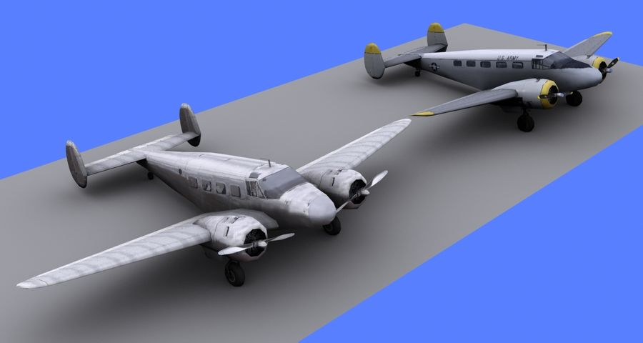 Beechcraft Model 18 - 2 Liveries royalty-free 3d model - Preview no. 3