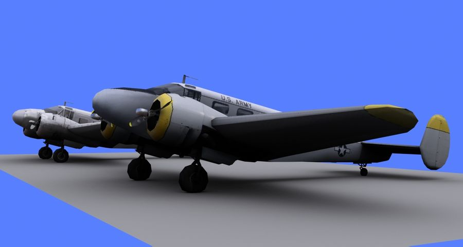 Beechcraft Model 18 - 2 Liveries royalty-free 3d model - Preview no. 2