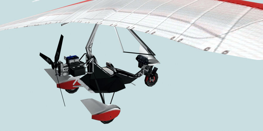Air Creation Ultralight Trike royalty-free 3d model - Preview no. 6