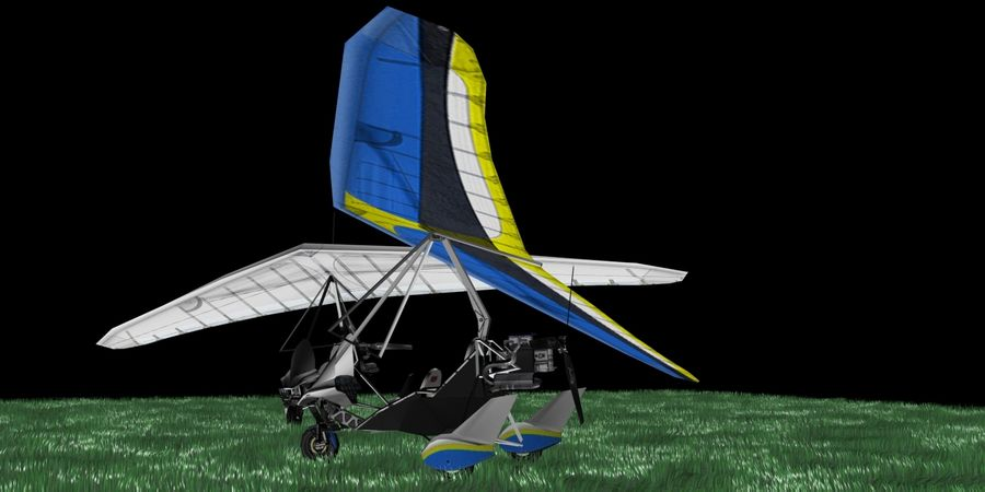 Air Creation Ultralight Trike royalty-free 3d model - Preview no. 4