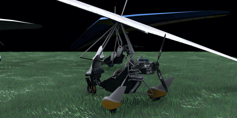 Air Creation Ultralight Trike royalty-free 3d model - Preview no. 2