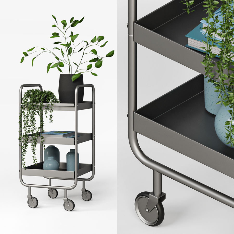 Slim Grey Metal Trolley royalty-free 3d model - Preview no. 1