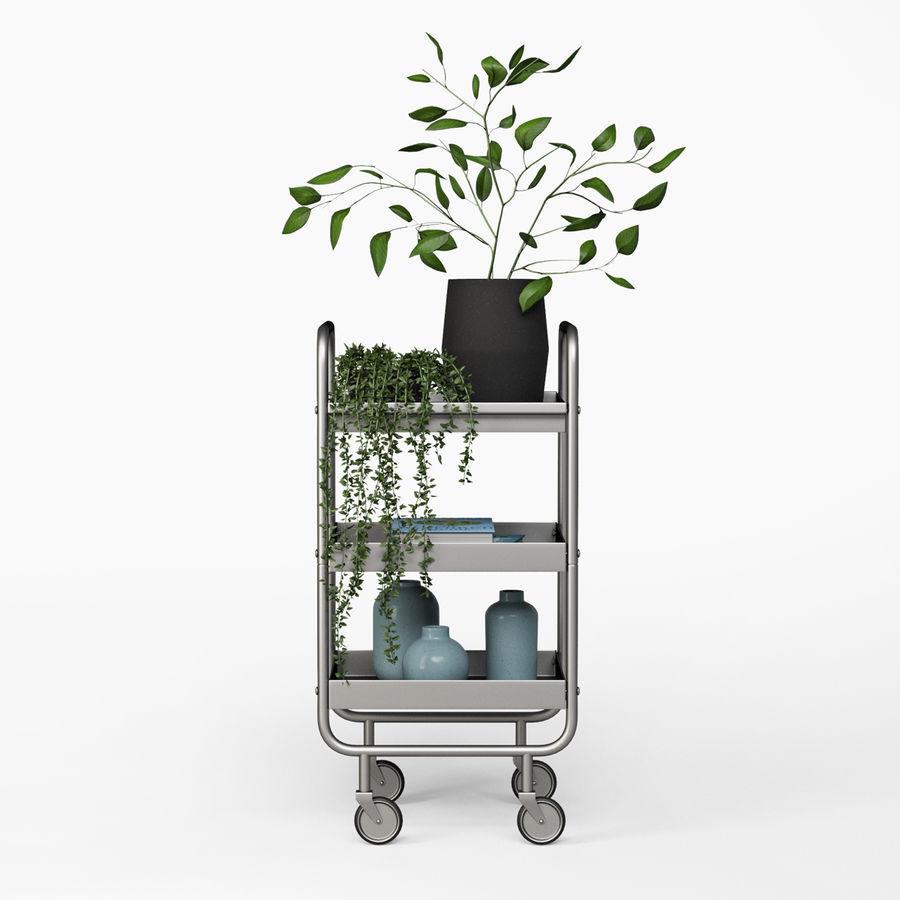 Wąski szary metalowy wózek royalty-free 3d model - Preview no. 3