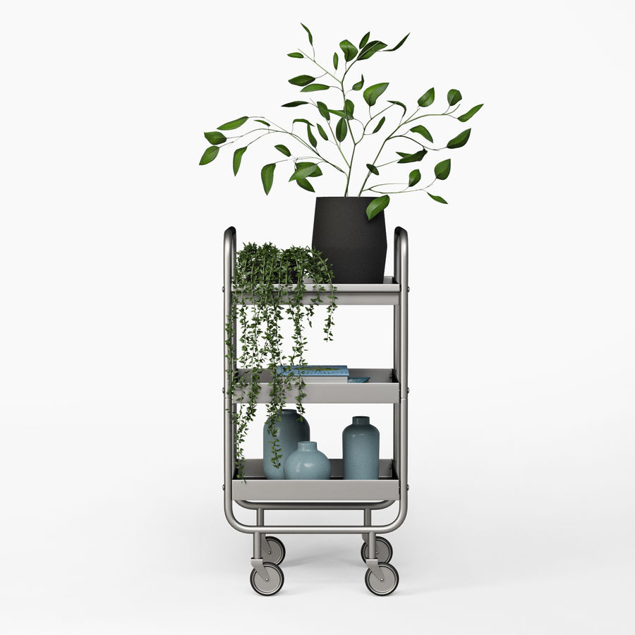 Slim Grey Metal Trolley royalty-free 3d model - Preview no. 3