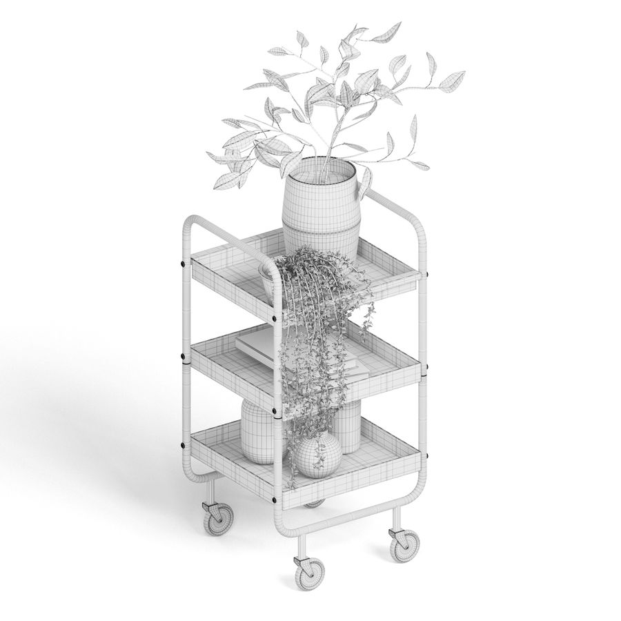 Slim Grey Metal Trolley royalty-free 3d model - Preview no. 7