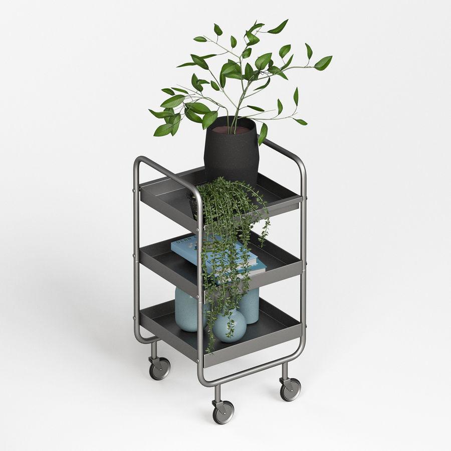 Wąski szary metalowy wózek royalty-free 3d model - Preview no. 5