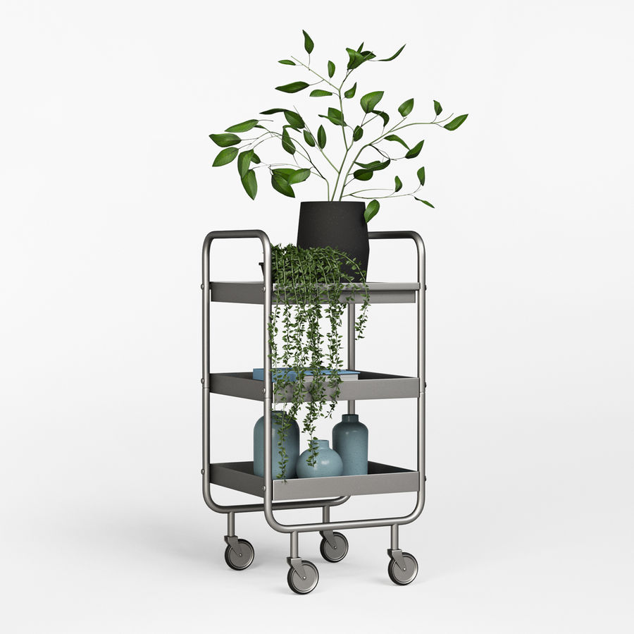 Slim Grey Metal Trolley royalty-free 3d model - Preview no. 4