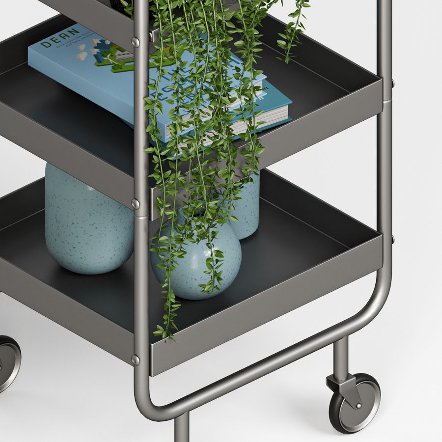 Slim Grey Metal Trolley royalty-free 3d model - Preview no. 6