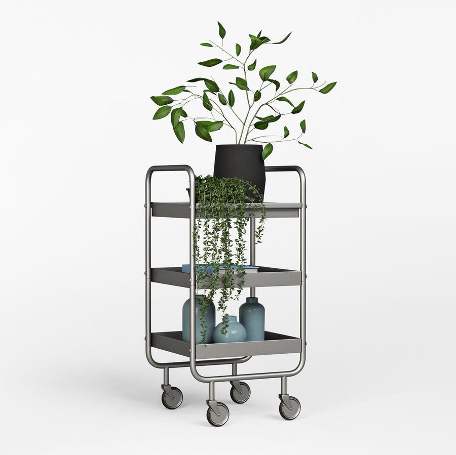 Wąski szary metalowy wózek royalty-free 3d model - Preview no. 4