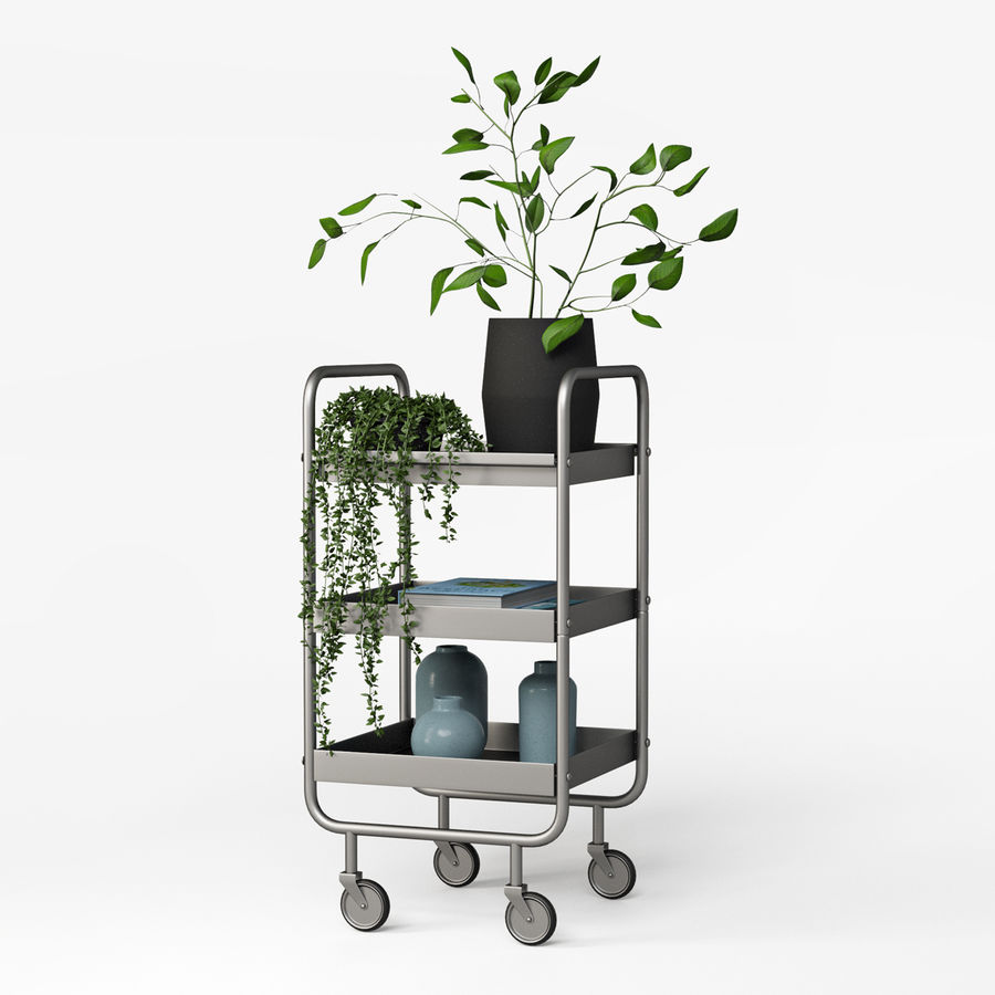 Slim Grey Metal Trolley royalty-free 3d model - Preview no. 2