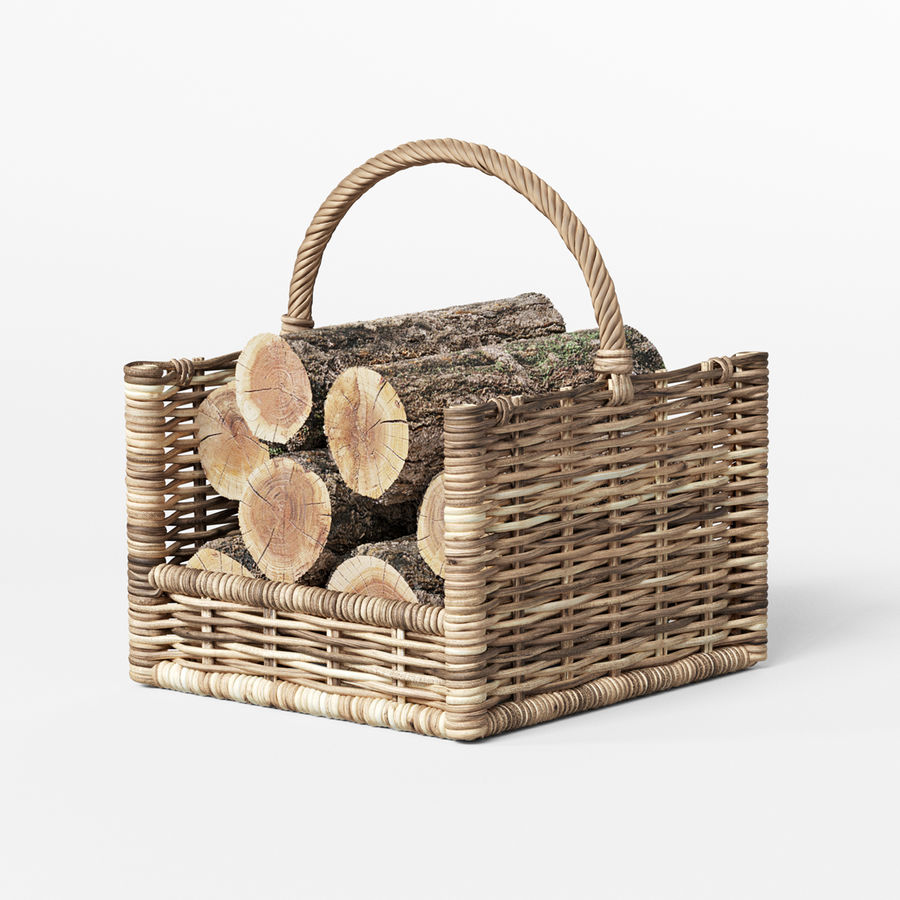Round Rattan Log Basket Rectangular royalty-free 3d model - Preview no. 3