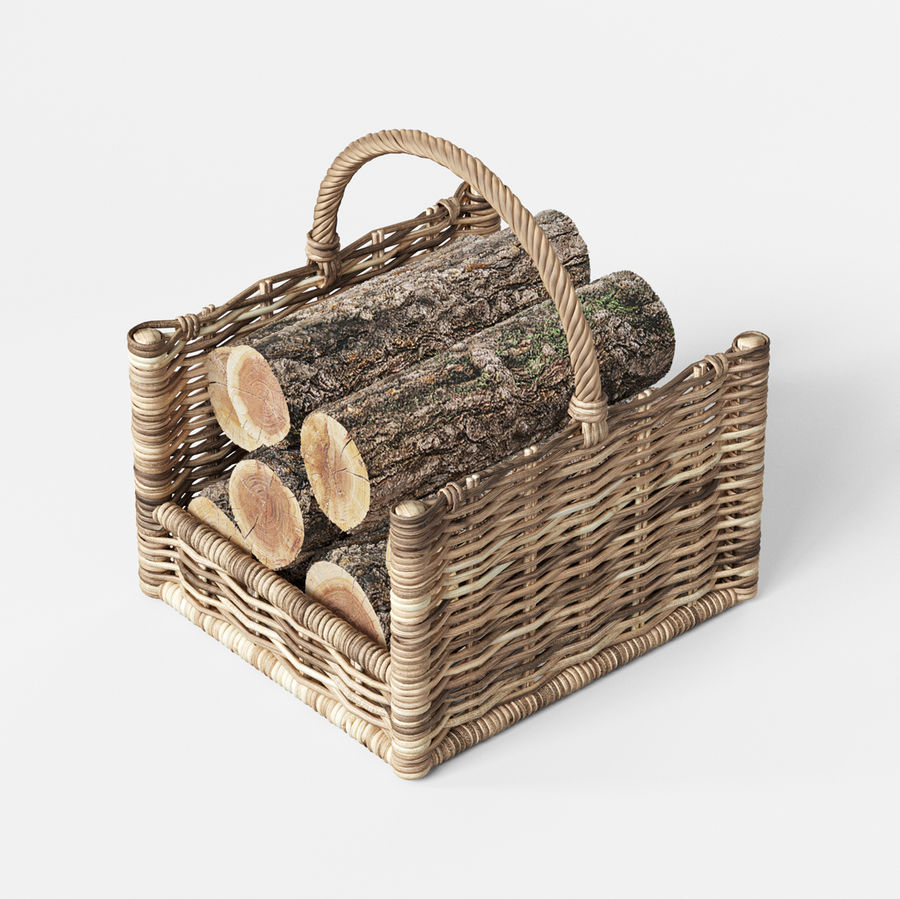 Round Rattan Log Basket Rectangular royalty-free 3d model - Preview no. 4