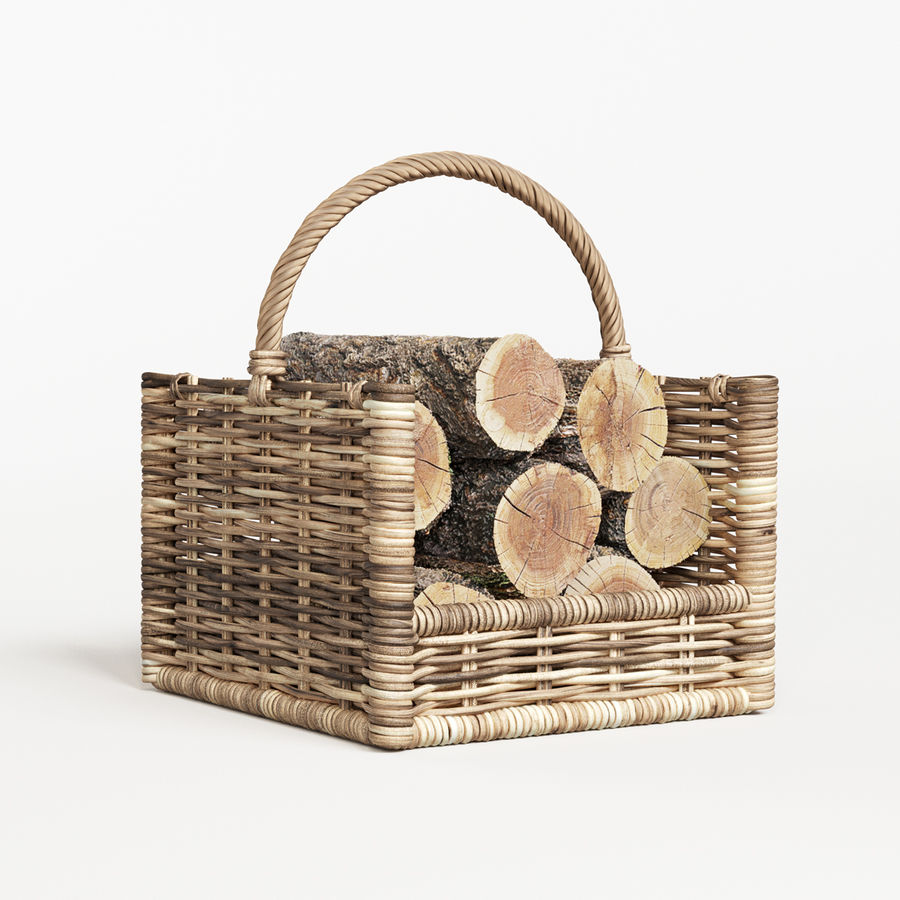 Round Rattan Log Basket Rectangular royalty-free 3d model - Preview no. 1