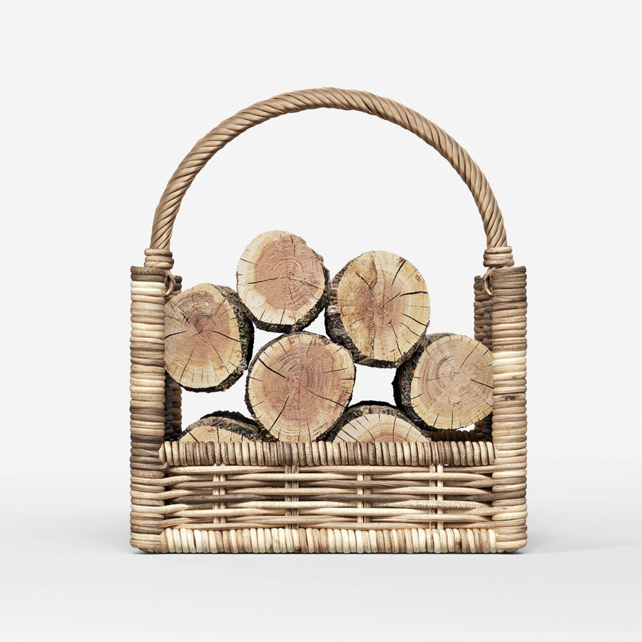 Round Rattan Log Basket Rectangular royalty-free 3d model - Preview no. 2