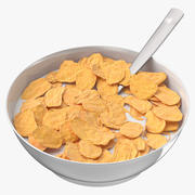 Tazón de cereal con cuchara modelo 3d