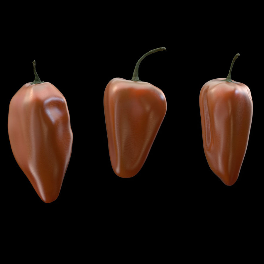 Habanero Peppers royalty-free 3d model - Preview no. 1