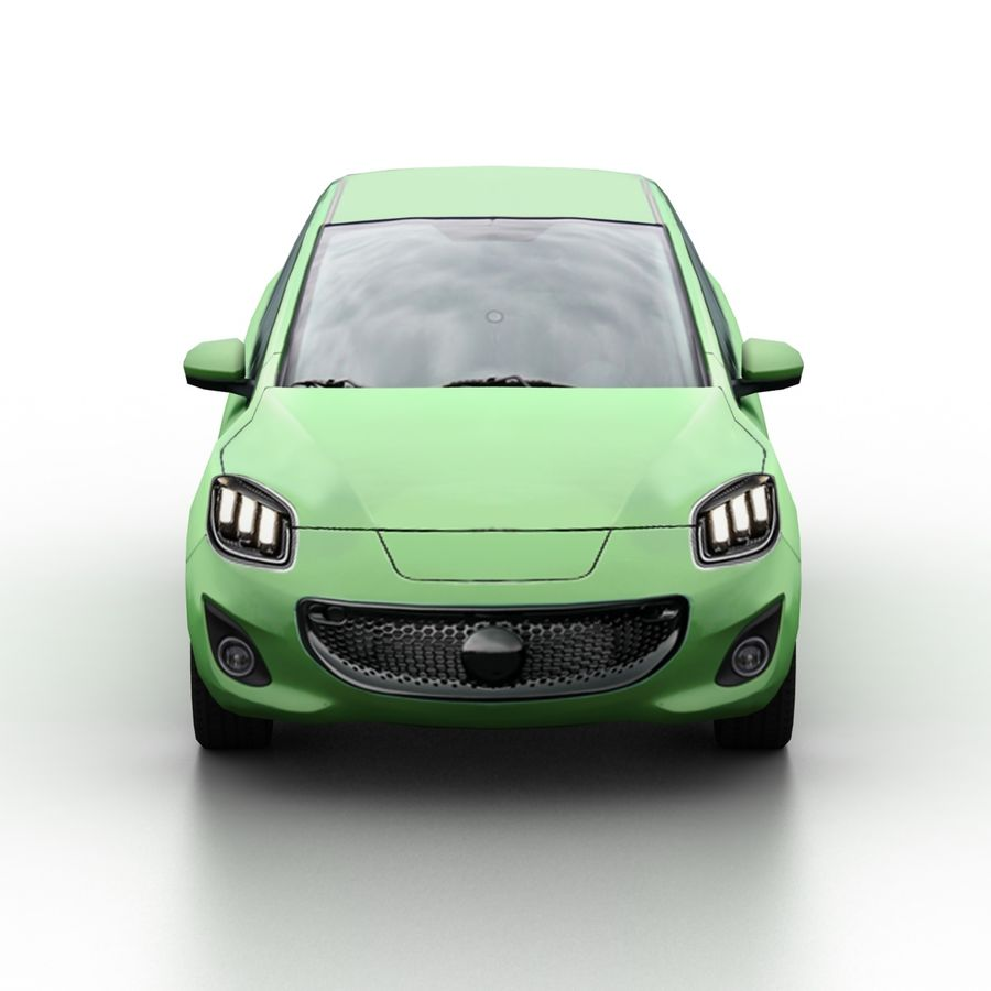 Low Poly Generic Hatchback v04 royalty-free 3d model - Preview no. 4