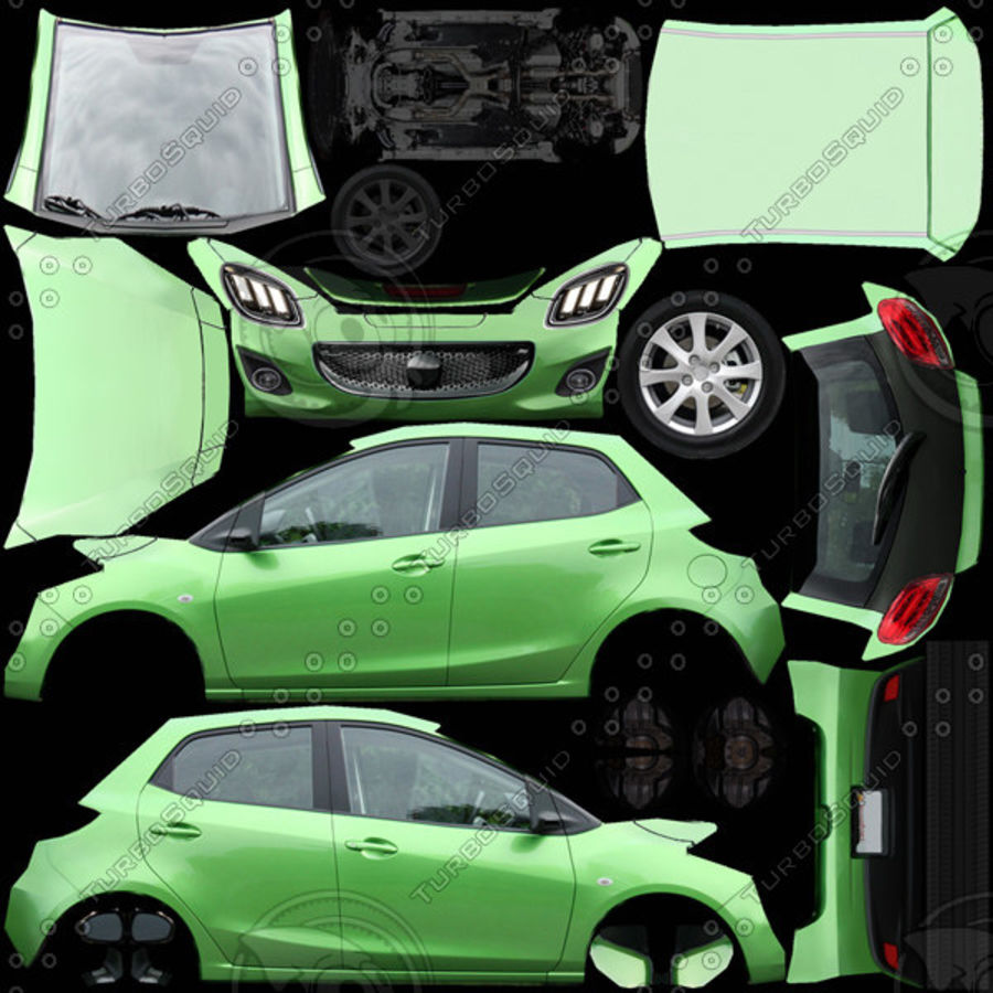 Low Poly Generic Hatchback v04 royalty-free 3d model - Preview no. 9