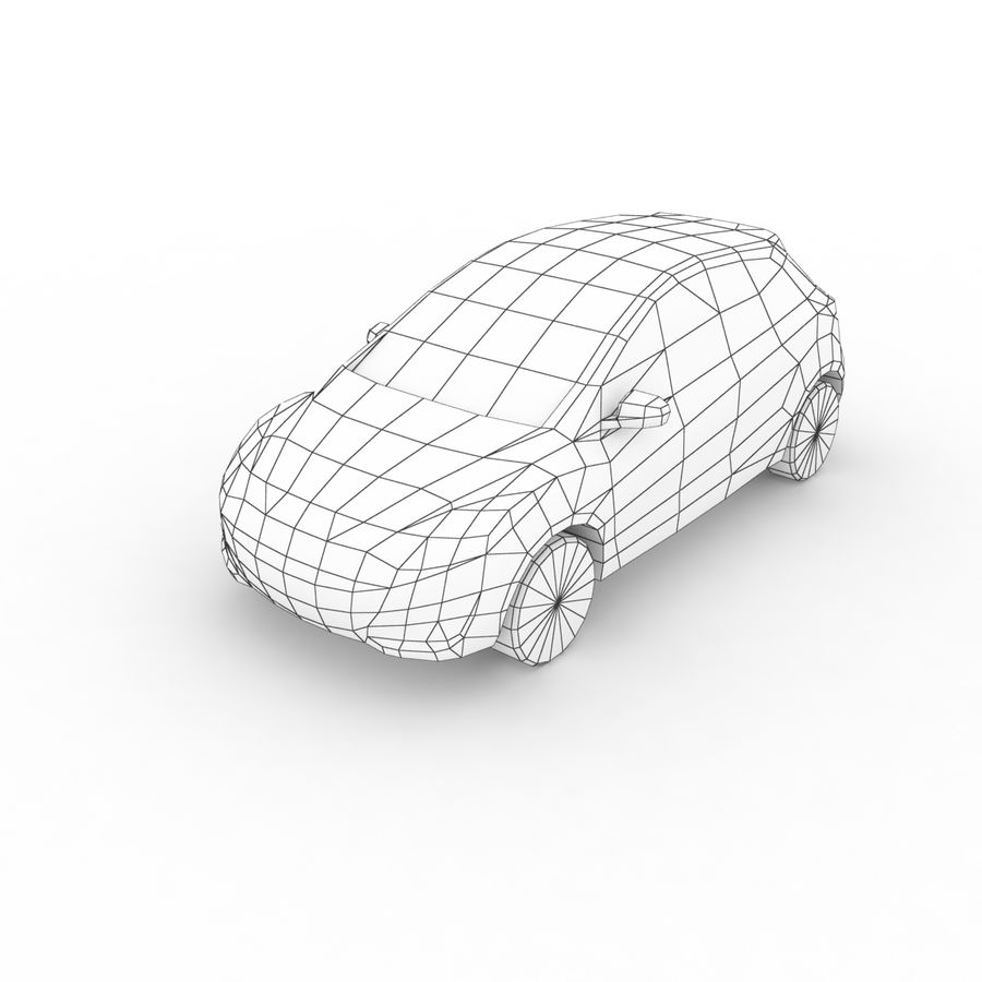 Low Poly Generic Hatchback v04 royalty-free 3d model - Preview no. 7