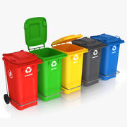 Colorful Recycle Bins 3d model