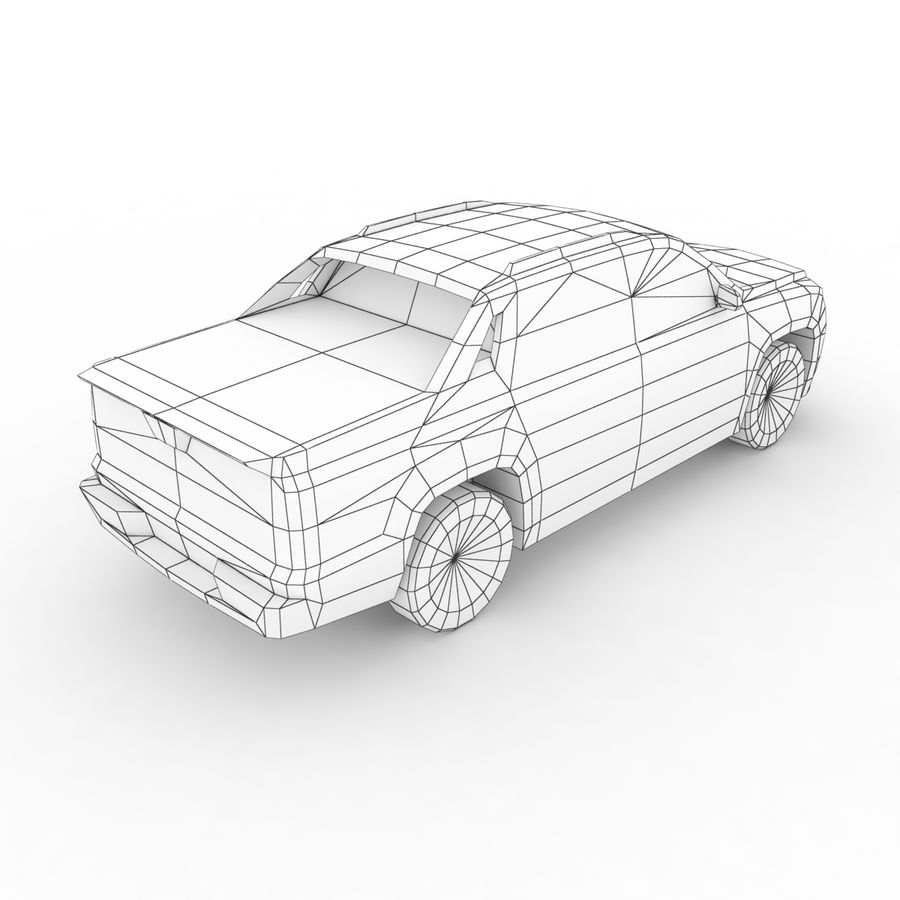 Low Poly Generic Pickup v03 royalty-free 3d model - Preview no. 8