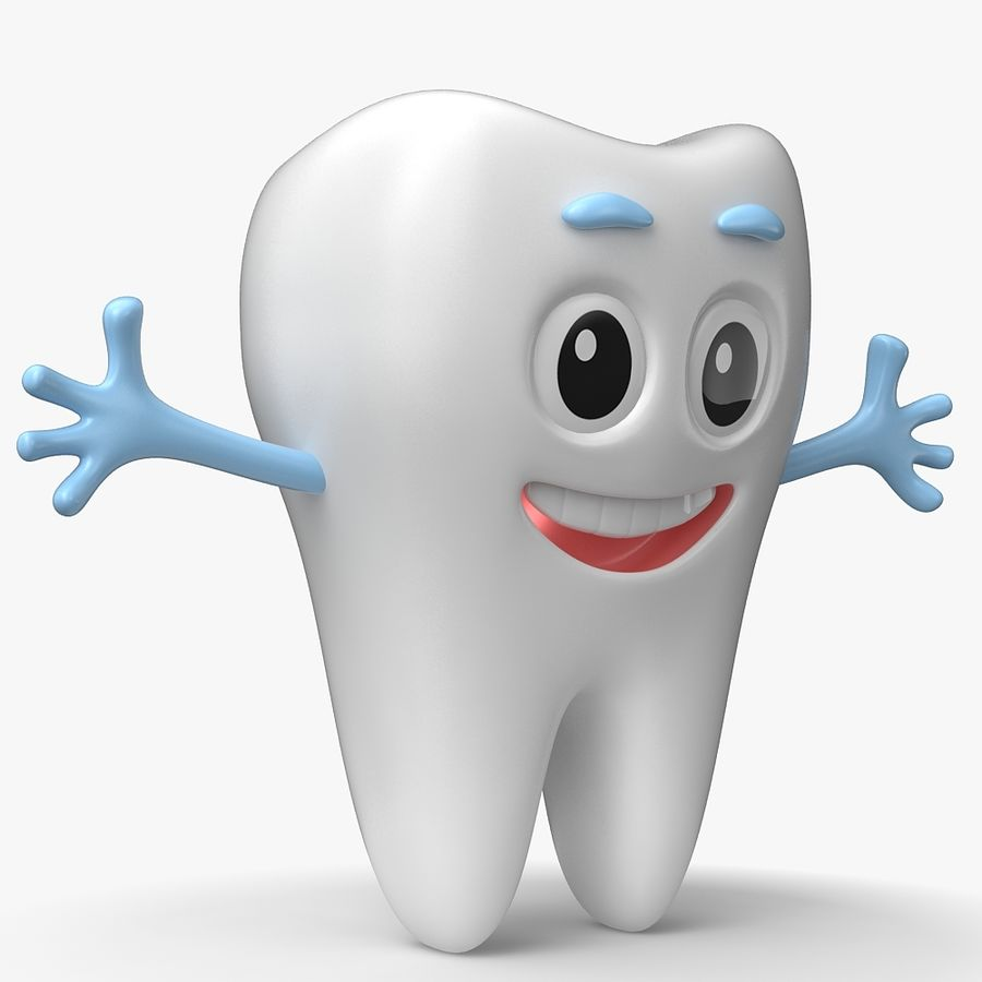 Cartoon Tooth royalty-free 3d model - Preview no. 4