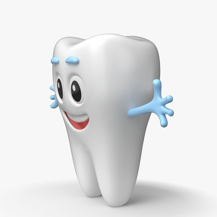 Cartoon Tooth royalty-free 3d model - Preview no. 6