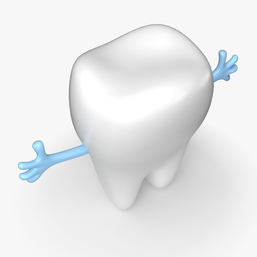 Cartoon Tooth royalty-free 3d model - Preview no. 7