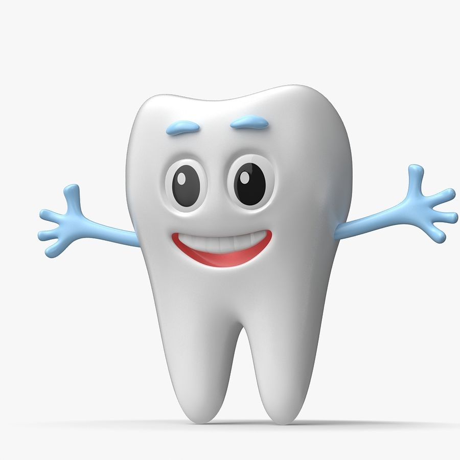 Cartoon Tooth royalty-free 3d model - Preview no. 3