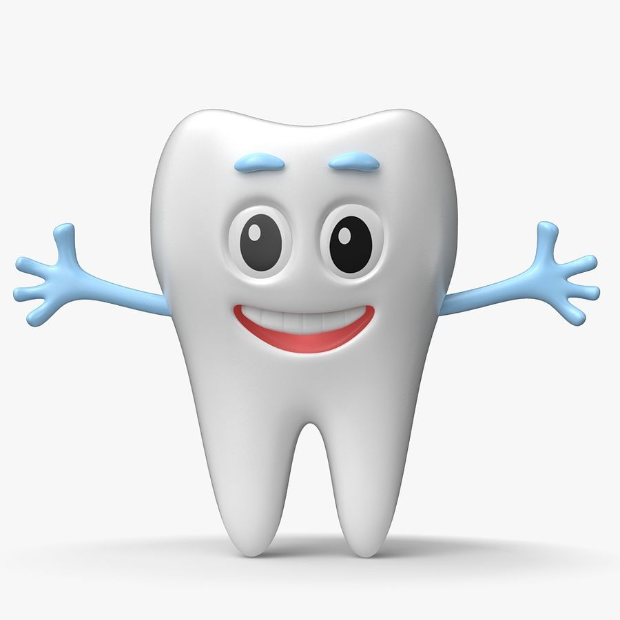 Cartoon Tooth royalty-free 3d model - Preview no. 2