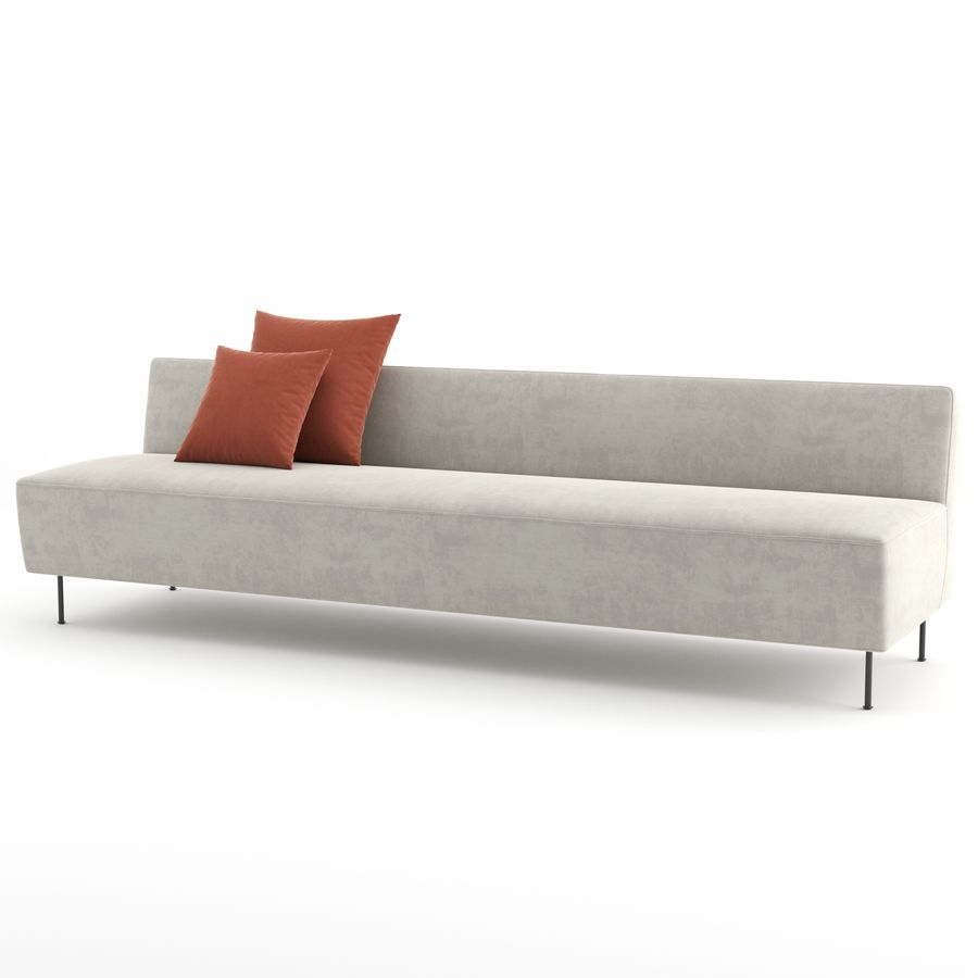 Modern Line Sofa by GUBI royalty-free 3d model - Preview no. 4