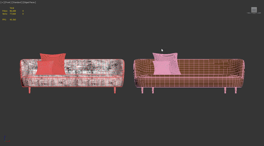 Modern Line Sofa by GUBI royalty-free 3d model - Preview no. 10