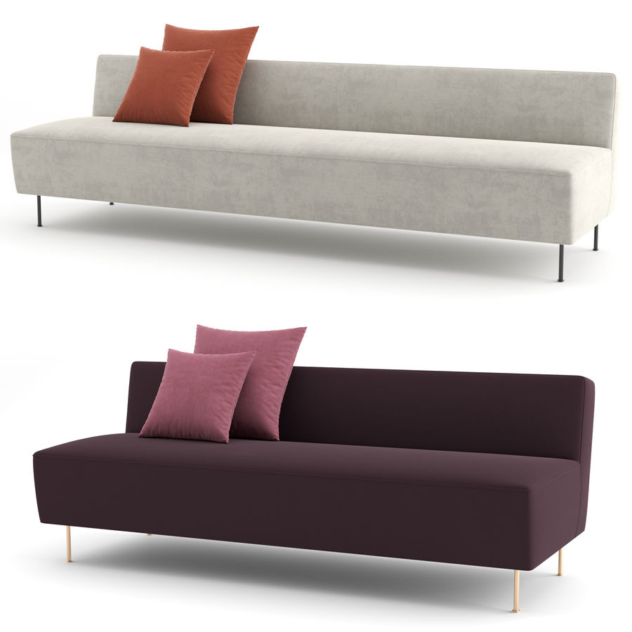 Modern Line Sofa by GUBI royalty-free 3d model - Preview no. 1