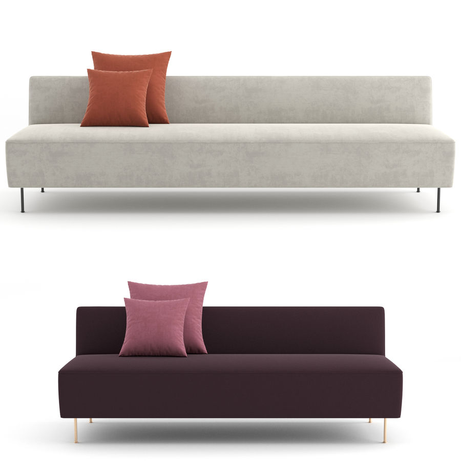 Modern Line Sofa by GUBI royalty-free 3d model - Preview no. 2