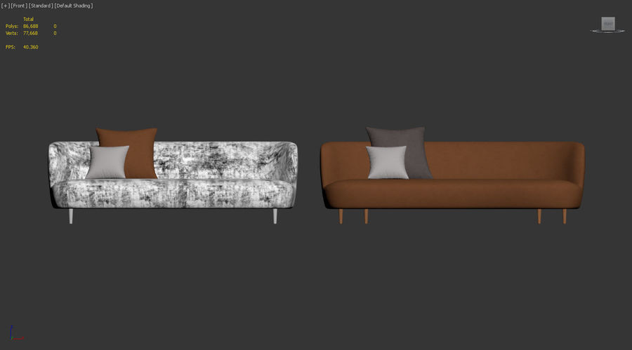 Sofa Modern Line firmy GUBI royalty-free 3d model - Preview no. 9
