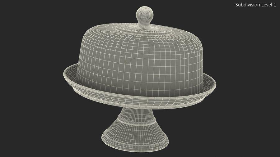 Stojak na ciasto szklany z kopułą royalty-free 3d model - Preview no. 12