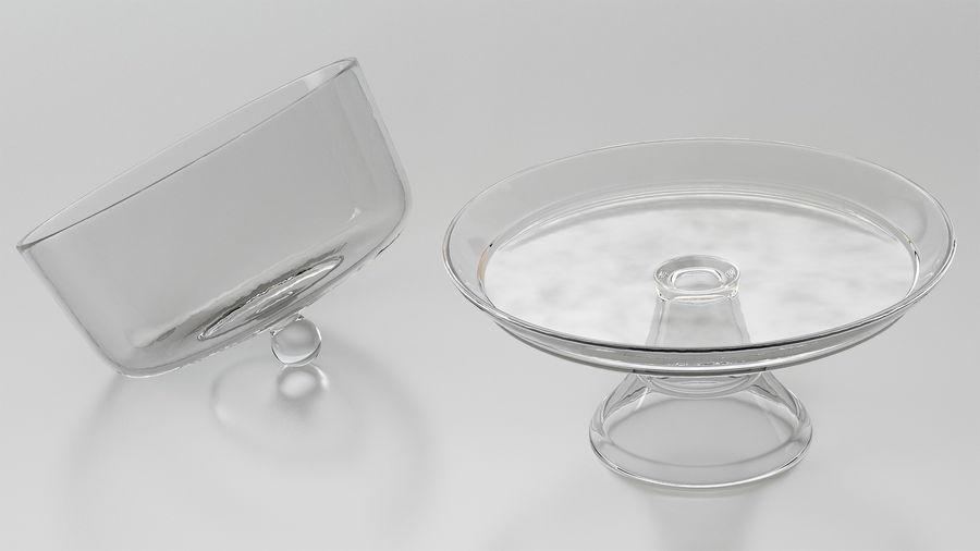 Stojak na ciasto szklany z kopułą royalty-free 3d model - Preview no. 3