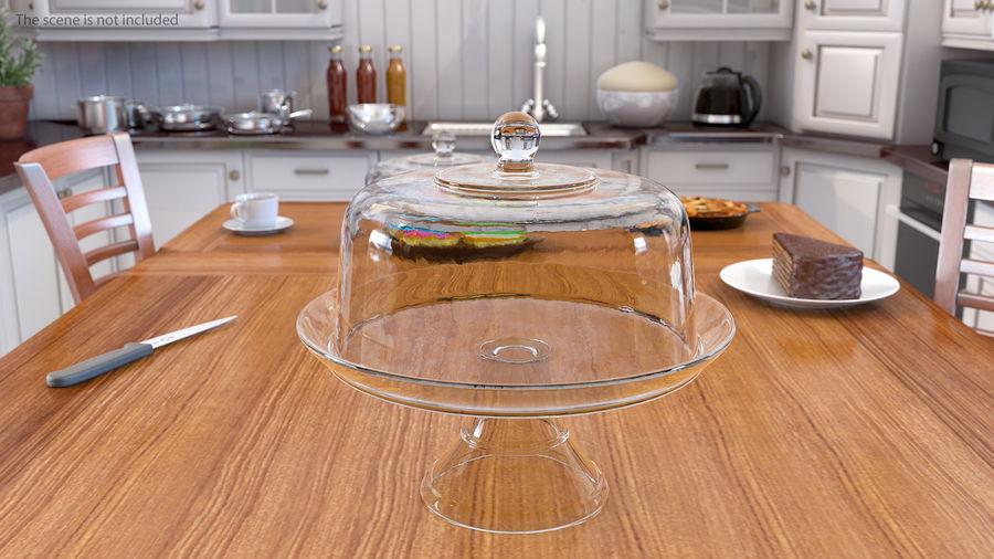 Stojak na ciasto szklany z kopułą royalty-free 3d model - Preview no. 4