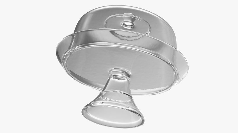 Stojak na ciasto szklany z kopułą royalty-free 3d model - Preview no. 8