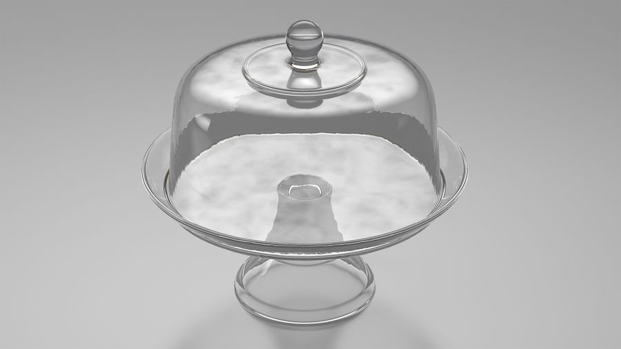 Stojak na ciasto szklany z kopułą royalty-free 3d model - Preview no. 2
