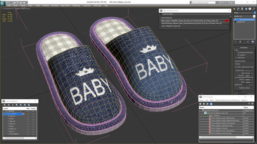 Kids Home Slippers royalty-free 3d model - Preview no. 21