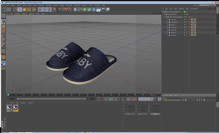 Kids Home Slippers royalty-free 3d model - Preview no. 20