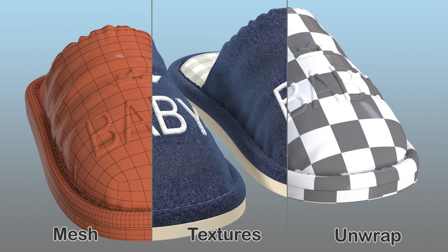 Kids Home Slippers royalty-free 3d model - Preview no. 14