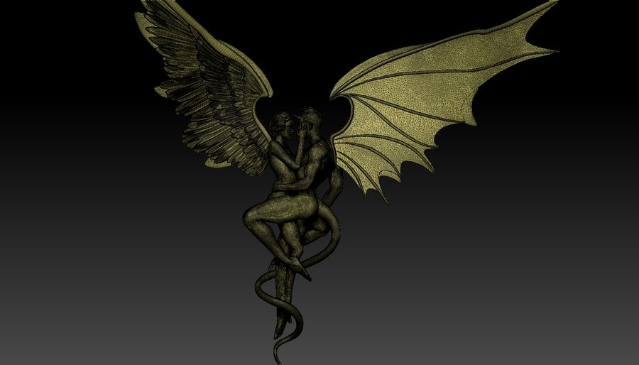 ANGEL AND DEVIL royalty-free 3d model - Preview no. 30