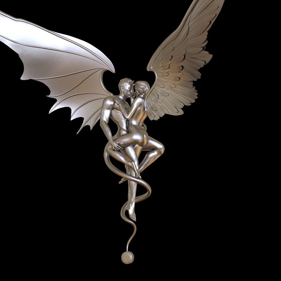 ANGEL AND DEVIL royalty-free 3d model - Preview no. 18